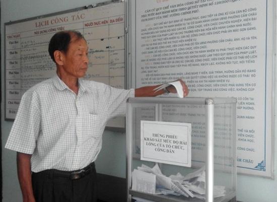 Thùng phiếu khảo sát mức độ hài lòng của công dân tại phường Cẩm Châu. Ảnh: QUỐC HẢI