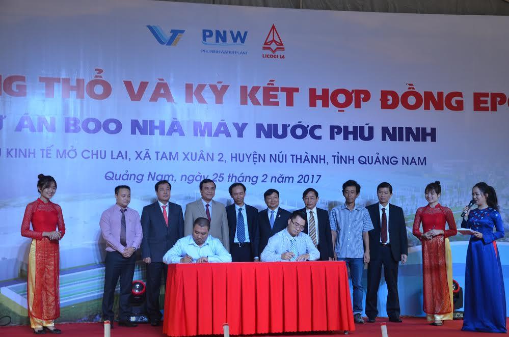 Lãnh đạo tỉnh chứng kiến lễ ký kết giữa chủ đầu tư với các nhà  thầu liên doanh.