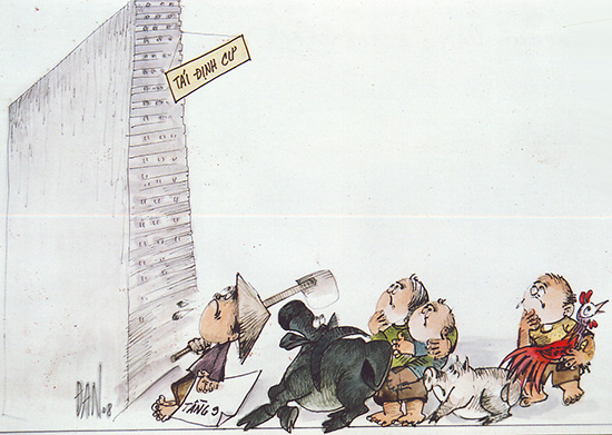 """""""Tái định cư"""" - biếm họa của Đan. (Giải ba cuộc thi """"Biếm họa Báo chí Việt Nam lần Thứ nhất 2008"""" của Hội Nhà báo VN)."""
