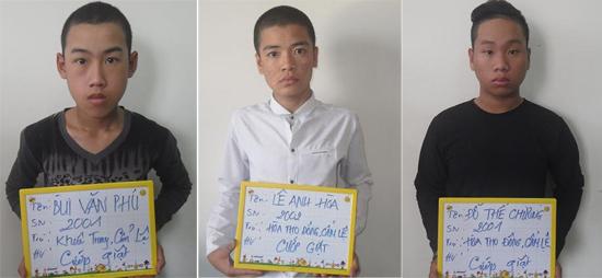 Các đối tượng cướp giật bị bắt giữ.