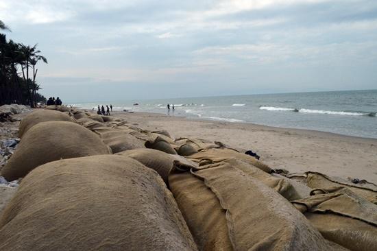 Biển đã rút xa bờ kè bao cát hàng chục mét