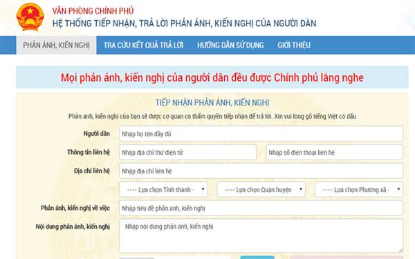 Trang website tiếp nhận, trả lời phản ánh người dân của Chính phủ.