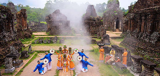Traditional Cham dance in My Son Sanctuary. Picture: disanquangnam.vn