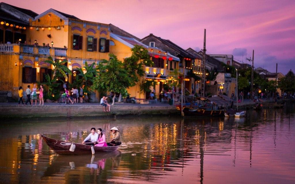 Hoai river in Hoi An city.