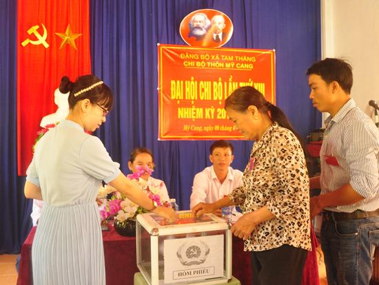 Nhằm thực hiện tốt các nhiệm vụ chính trị tại địa phương, Đảng ủy xã Tam Thăng (Tam Kỳ) triển khai kế hoạch tổ chức đại hội chi bộ các chi bộ trực thuộc ngay trong tháng 4 này.  TRONG ẢNH: Đại hội Chi bộ thôn Mỹ Cang. Ảnh: H.G