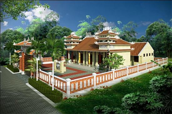 Mô hình nhà thờ tộc Lê Cẩm Sa.