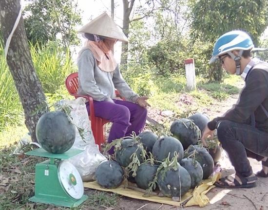 Nông dân bán nông sản ven đường.