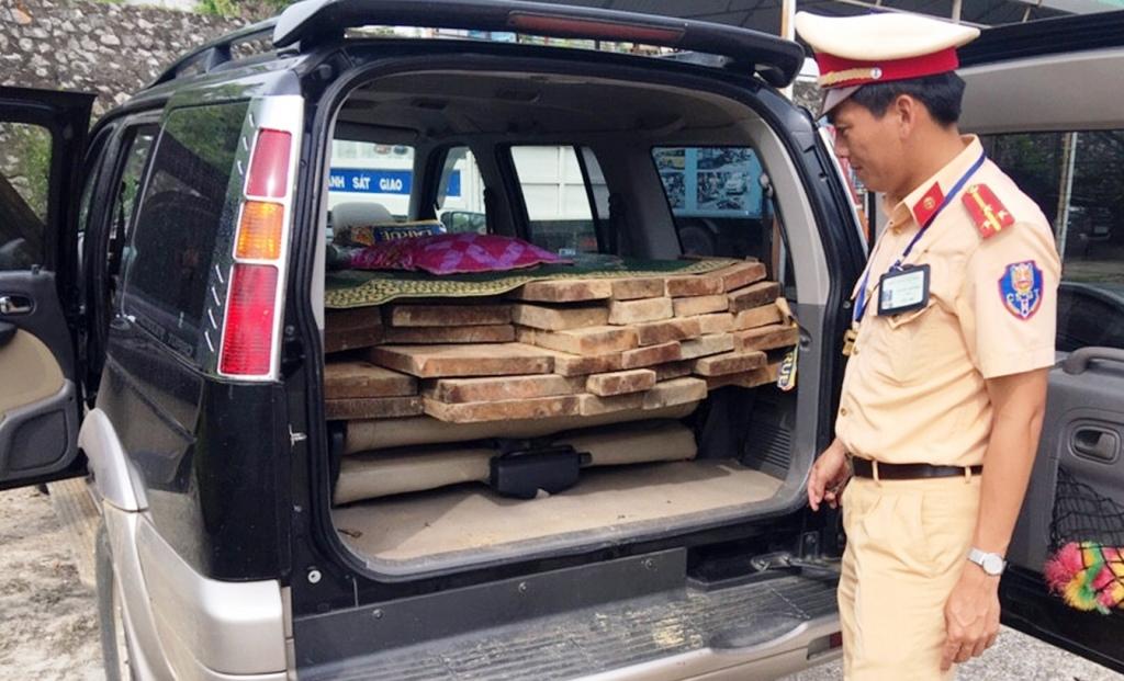 Số gỗ tang vật cùng phương tiện bị tạm giữ. Ảnh: C.C