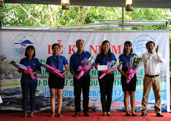 Trao giải cuộc thi cho Thanh niên Hội An với với Khu dự trữ sinh quyển thế giới Cù Lao Chàm. Ảnh: MINH HẢI