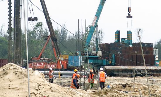 Tốc độ xây dựng của dự án Nam Hội An nhanh hơn dự kiến.Ảnh: T.D