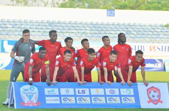 Hải Phòng tung ra sân đội hình mạnh nhất trong trận làm khách của Quảng Nam ở Cúp quốc gia.Ảnh: AN NHI