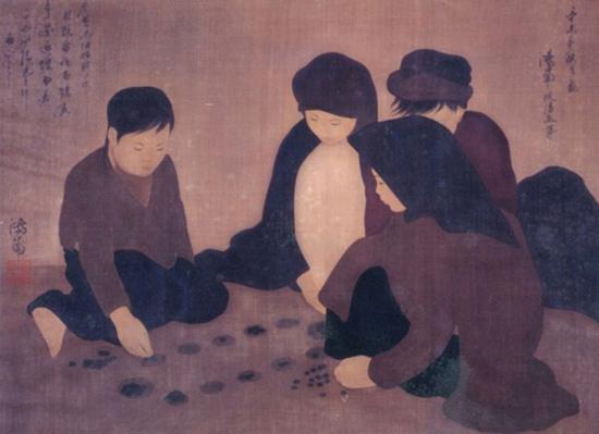 Chơi ô ăn quan.Tranh lụa của Nguyễn Phan Chánh