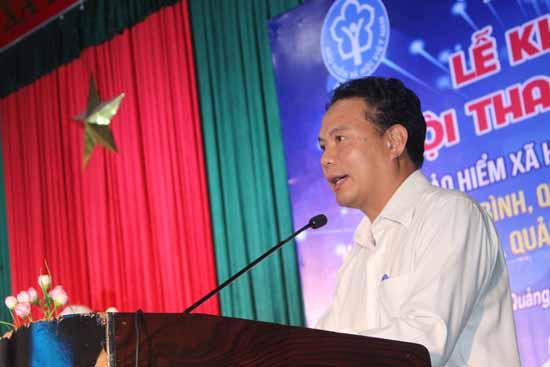 Phó Chủ tịch UBND tỉnh Lê Văn Thanh phát biểu tại hội thao. Ảnh: D.LỆ