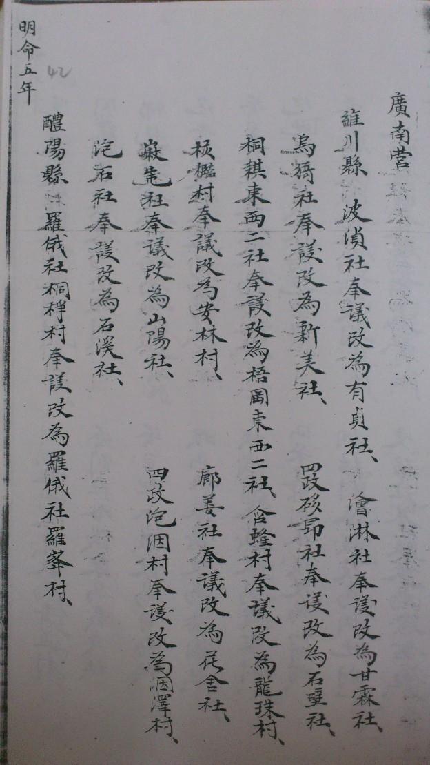 Một trang trong bản tấu về việc đổi tên làng ở Quảng Nam thời vua Minh Mạng (Ảnh do tác giả sao chụp lại từ thư viện Viện Nghiên cứu Hán Nôm, Hà Nội)