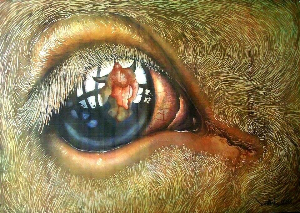 Tác phẩm này anh Tĩnh muốn gửi gắm thông điệp nhân đạo yêu thương với động vật. Ảnh: Nhân vật cung cấp
