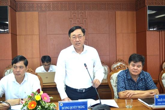 Tổng giám đốc Ngân hàng Chính sách xã hội Việt Nam - Dương Quyết Thắng phát biểu kết luận buổi làm việc. Ảnh: Q.Việt