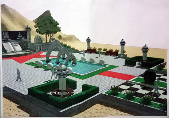 Phác thảo phối cảnh Vườn tượng trên đồi cao (phía trái) bên ngoài Khe Thẻ. Ảnh: V.L