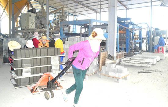 Sản xuất gạch không nung ở Công ty TNHH MTV Sản xuất Nguyên Tâm. Ảnh: N.Q.V