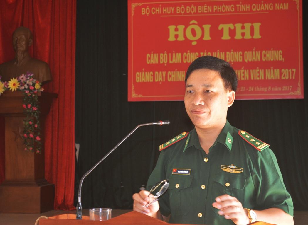Thượng tá Nguyễn Xuân Bách – Bí thư Đảng ủy – Chính ủy BĐBP tỉnh phát biểu khai mạc hội thi