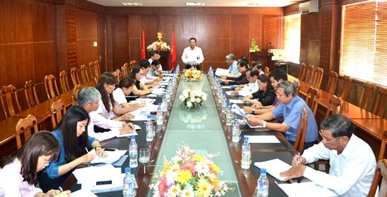Phó Chủ tịch UBND tỉnh Lê Văn Thanh phát biểu kết luận buổi làm việc. Ảnh: N.Q.Việt