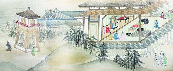 """Tranh cuộn """"Shuin-sen Kochi toko zukan"""" (trích đoạn) vẽ cảnh thương nhân Nhật Bản yết kiến quan Tổng trấn tại Dinh trấn Thanh Chiêm (Quảng Nam).  Ảnh chụp lại: Trần Đức Anh Sơn."""