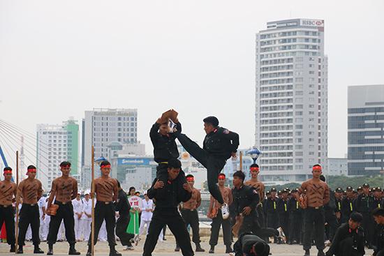 Các chiến sỹ cơ động biểu diễn võ thuật tại diễn tập.