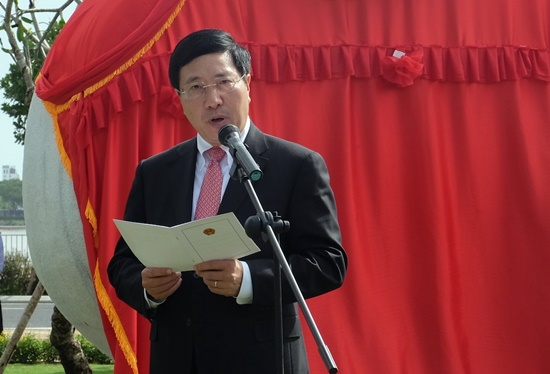 Deputy Prime Minister Pham Binh Minh gives a speech at the event