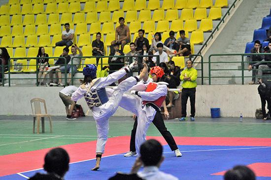 Việc áp dụng luật mới đã giúp các trận đấu tại giải Taekwondo vừa qua thêm hấp dẫn hơn. Ảnh: A.SẮC