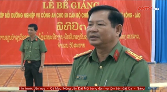 Colonel Huynh Trung Nguyen at the closing ceremony (antv.gov.vn)