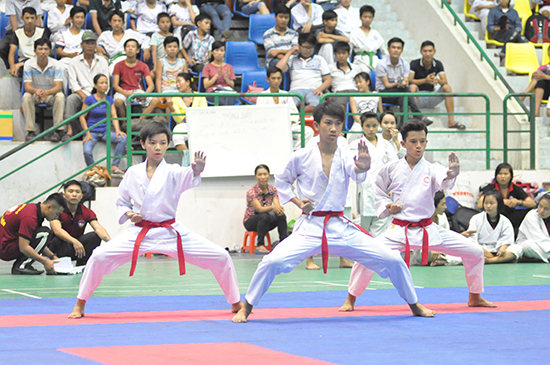 Các vận động viên trẻ có dịp cọ xát nhờ nỗ lực tổ chức các giải đấu trẻ của Hội Karatedo tỉnh Quảng Nam. Ảnh: T.VY