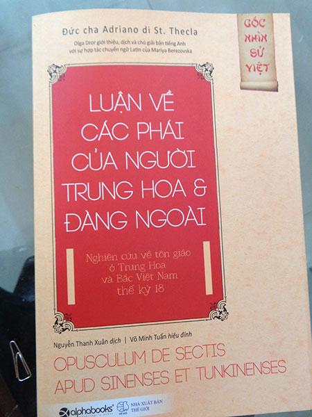 """Tác phẩm """"Luận về các phái của người Trung Hoa và Đàng Ngoài""""."""