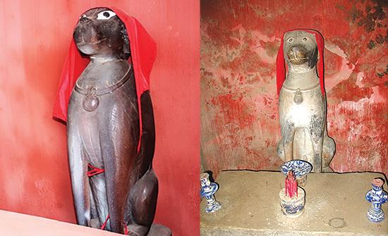 Tượng linh cẩu thờ ở Chùa Cầu.