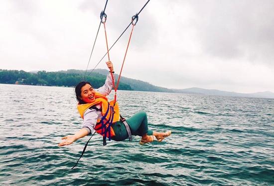 Enjoying zip-line at Phu Ninh ecotourism zone