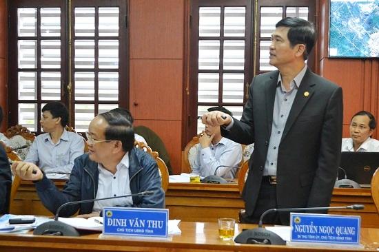 Bí thư Tỉnh ủy Nguyễn Ngọc Quang nêu rõ sự cần thiết phải sớm quy hoạch cảng Kỳ Hà. Ảnh: CT