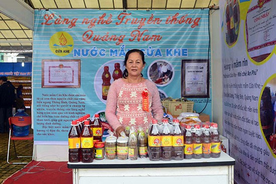 Fish sauce- a product from Cua Khe fish sauce village (Binh Duong commune, Thang Binh district) at a fair in Da Nang city.