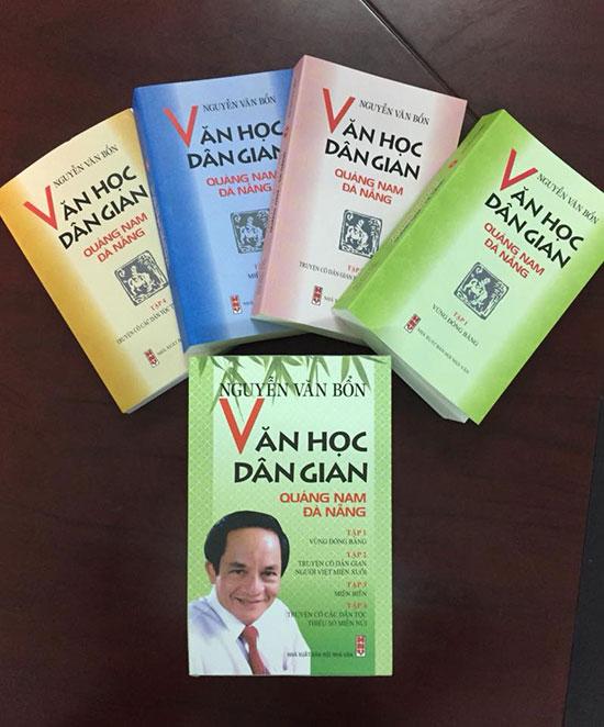 """Bốn tập của bộ sách """"Văn học dân gian Quảng Nam - Đà Nẵng""""."""