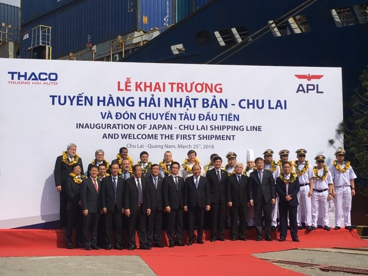 THACO inaugurates the international shipping route linking Chu Lai and Japan on March 25. Photo: NDO