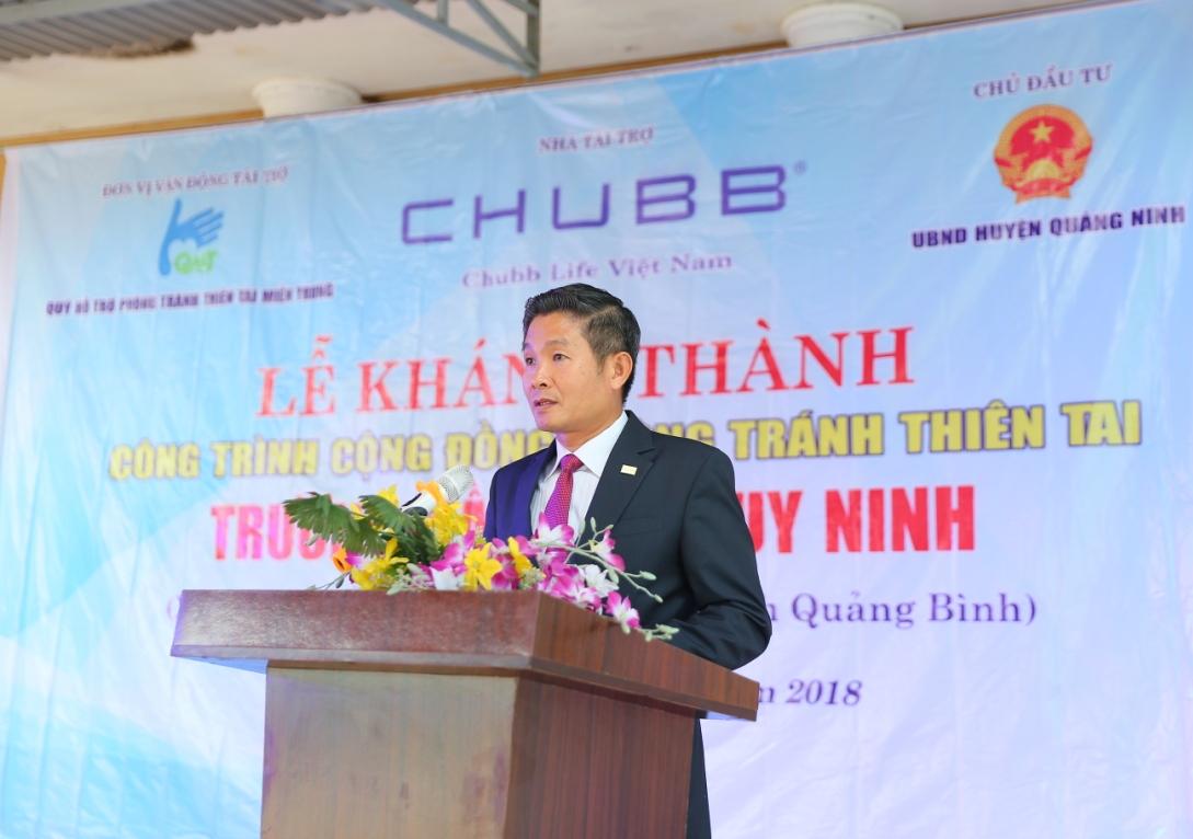Ông Nguyễn Hồng Sơn, Phó Tổng Giám đốc Chubb Life Việt Nam phát biểu tại Lễ khánh thành.