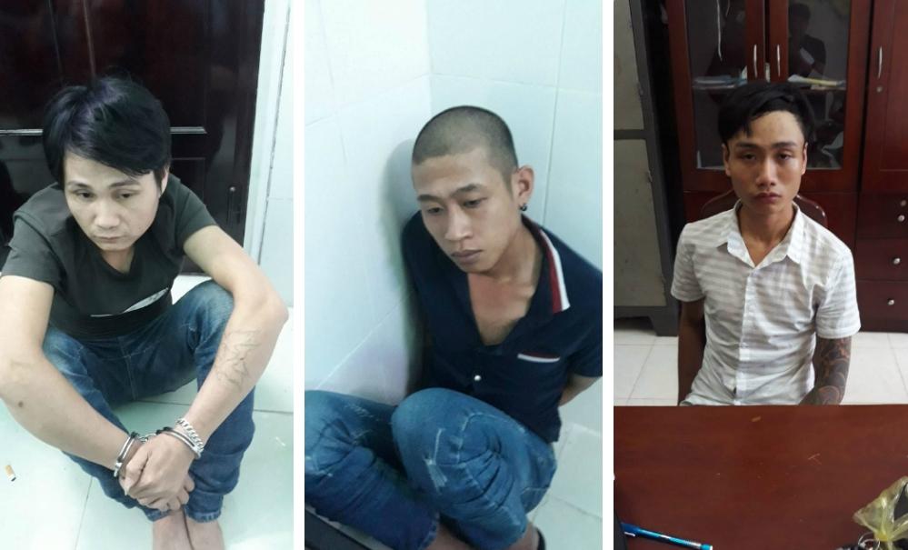 Các đối tượng Tuấn, Quang và Long (thứ tự từ trái sang phải) khi bị bắt. Ảnh: CA cung cấp