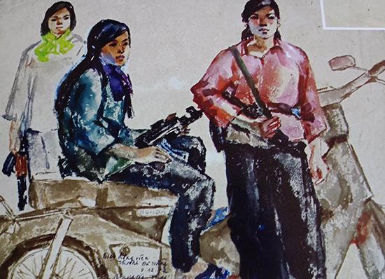 Các chiến sĩ biệt động Đặc khu Quảng Đà - Cô gái bên phải, đứng là anh hùng Trần Thị Chiến. Ký họa của Giang Nguyên Thái.