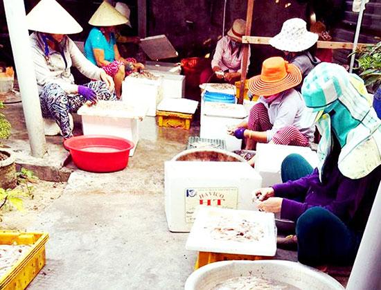 Xưởng chế biến cá khô của chị Hằng tạo việc làm ổn định cho 2 lao động và khoảng 30 lao động thời vụ. Ảnh: KIỀU LY