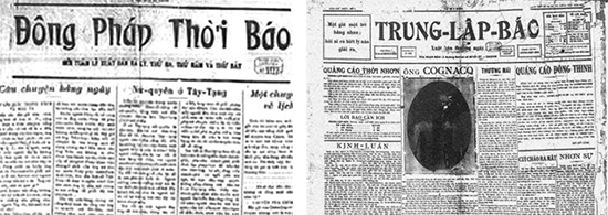 Đông Pháp thời báo và Trung lập báo - những tờ báo mà Phan Khôi và Bùi Thế Mỹ thường xuyên viết bài.