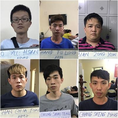 Nhóm đối tượng người Đài Loan trong vụ án. Ảnh: CA cung cấp