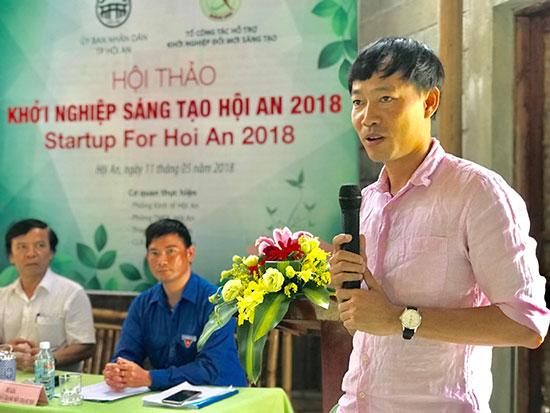 Anh Lê Ngọc Thuận tại một hội thảo về khởi nghiệp tổ chức ở Hội An.