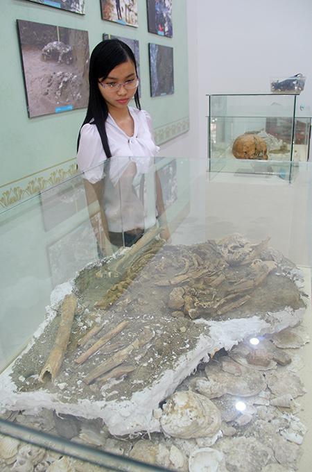 Cụm di cốt người cổ, hộp sọ và hình ảnh di chỉ Bàu Dũ trong đợt khai quật năm 2014, trưng bày tại Bảo tàng Quảng Nam.Ảnh: H.X.H