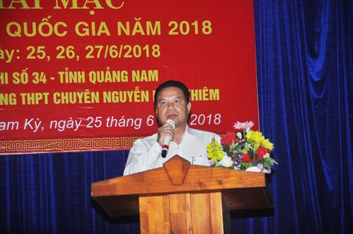 Phó Chủ tịch UBND tỉnh Lê Văn Thanh phát biểu khai mạc kỳ thi. Ảnh: X.P