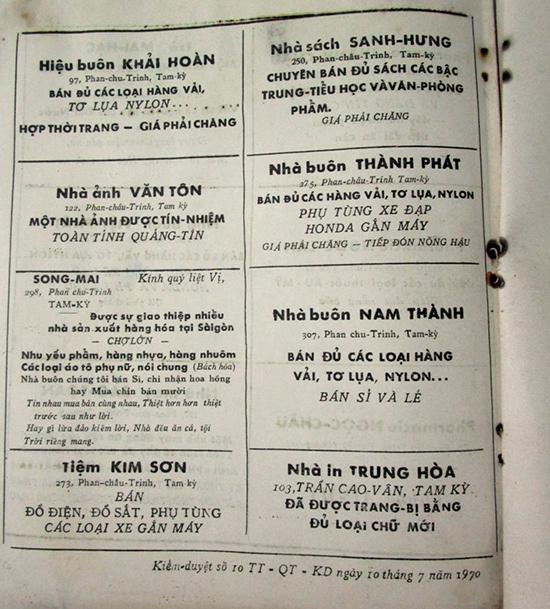 Trang quảng cáo cho một số nhà buôn ở Tam Kỳ vào tháng 7 năm 1970 trên một đặc san địa phương. Ảnh: PHÚ BÌNH