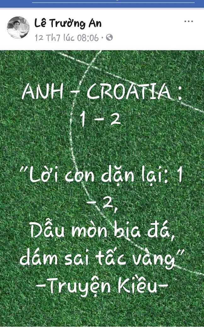 Anh Lê Trường An bình tỷ số trận Anh - Croatia.