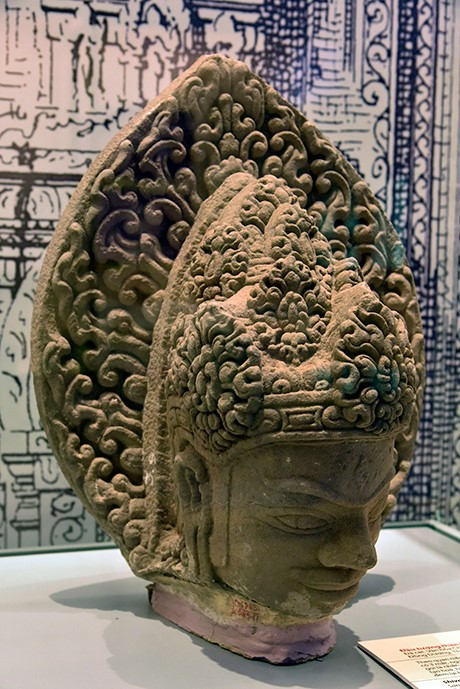 The statue of Shiva's head was discovered in Dong Duong Buddhist Institute.