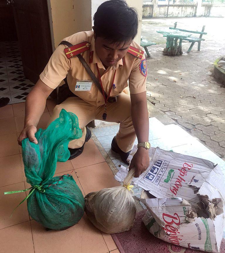 Hai cá thể tê tê được phát hiện, thu giữ. Ảnh do Công an huyện Nam Giang cung cấp